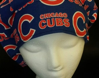 Chicago Cubs Baseball Cubbies Bouffant Surgical Scrub Hat With Banded Front & Toggled Back