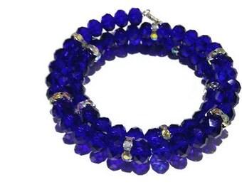 Blue bracelet - Memory wire bracelet - crystal memory wire wrap bracelet - charm bracelet - wire wrapped bracelet - gift for her -