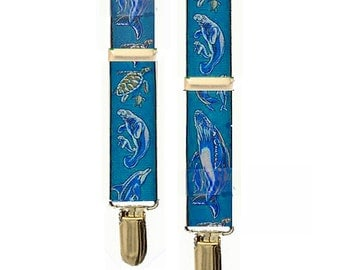 Vintage Suspenders - SEA LIFE - Whales..Dolphins..Manatee..Sea Turtle - One Adult Size - New & Unworn