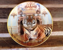 Tiger Collectible Plate, Tiger Lover Gift, Predatory Jungle Animal Gift, Franklin Mint Palatial Tiger Plate Ron by Kimball