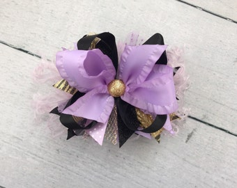 Lavender, Gold and Black bow