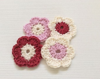 Set Of 4 Handmade Crochet Flowers