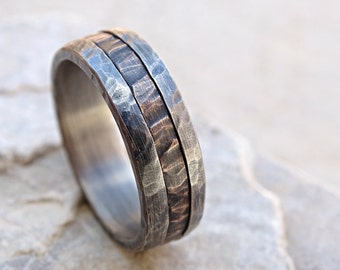 Cool Mens Ring Mixed Metal Promise Wood Grain Unique Wedding Band Bronze