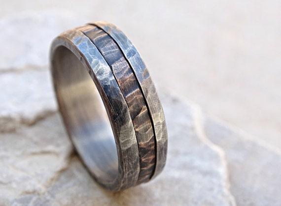 cool mens ring mixed metal mens promise ring wood grain