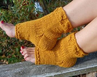 Knitted Pedicure Socks, Toeless Socks, Flip Flop Socks,  Yoga Socks, Hand Knit Socks for Pedicure