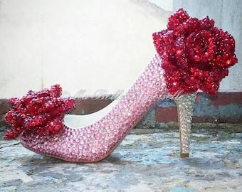 Crystal Fairytale Wedding Shoe's, Rose Bridal Shoes, Rose Wedding Shoes, Rose Bridal Heels, Floral Bridal Shoes, Floral Wedding Shoes