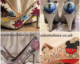 Hand painted Custom wedding shoes,engagment, bridesmaids
