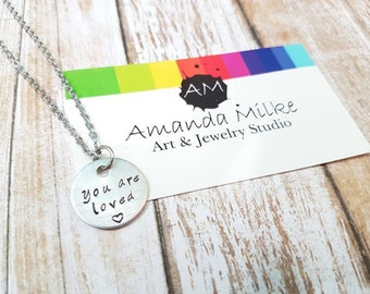 You are Loved small hand stamped necklace children or adults