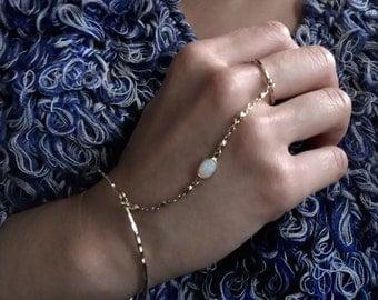 White Fire Opal Bangle | Handpiece