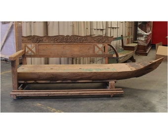 Antique BIG Wooden Boat Turned into Bench Seating with Old Paint from Indonesia Seas