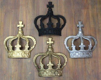 British Royal Cast Iron Crown for King or Queen or Princess Prince Wall Decor Art