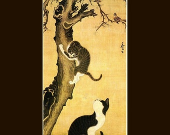 "8x10"" ultra premium poster print,  Korean_art-Byeon Sangbyeok-Myojakdo a Painting_of_Cats_and_Sparrows. FREE ship US"