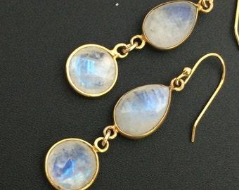 Rainbow Moonstone Earrings, Double Drop Earrings, Bezel Set Stone Earrings , Gemstone Earrings, Earrings under 100
