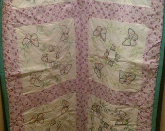 hand embroidered butterfly quilt