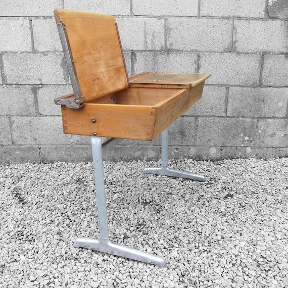 Twin School Desk Industrial Mid Century Double Vintage Modernist 1950s Adult Height