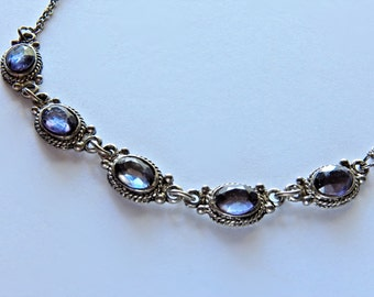 Pretty Vintage Necklace with Purple/Blue Stones  AA305