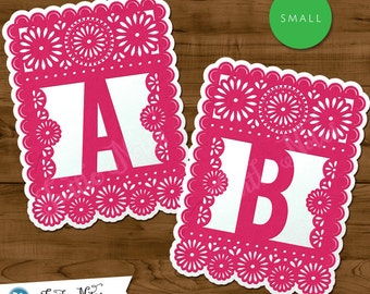 Small Pink & White Papel Picado  :  Printable Banner All Letters, 0-9 numbers, and bonus extras
