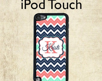 ipod touch case monogram ipod 6 case navy chevron coral