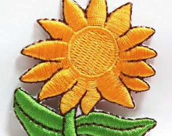 Sun Flower (5.5 x 5 cm) Full Embroidered Applique Iron on Patch (R)