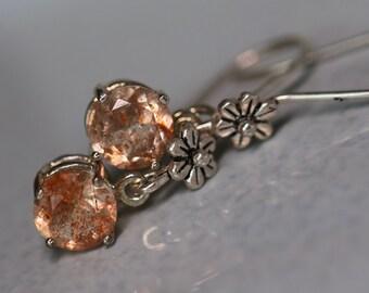 Tanzanian Sunstone Sterling Silver Flower Drop Earrings - 7mm