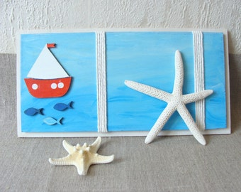 Sea Picture Frame, Wooden Marine Frame, Handmade Photo Frame,Children's Room Decor, Beach Decor, Sea Lovers, Marine Decor, Marine Wall Art