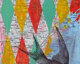Vertical Climb, mixed media, Maine map and swallow