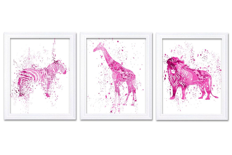 Jungle Nursery Art Hot Pink African Safari Animals Painting Art Prints Set of 3 Zebra Giraffe Lion N