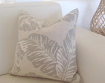 Beach House Cushions, Coastal Cushions, Palm Leaf, Modern Natural, Hamptons Coastal Pillows, Cover Only.