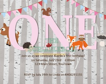 Woodland/ forest animal invitation