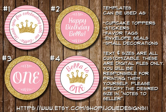 circle gift tag template - pink gold princess circle templates stickers favor