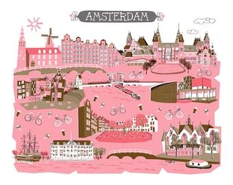 Wall Art-Amsterdam-Art Print-2 Color-City Illustrations-10x8-Pink-Brown-Grey