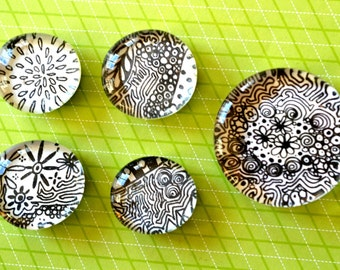 Five Doodle Magnets. Black and white.