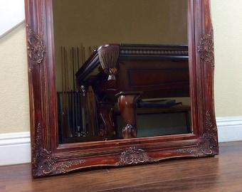 """Mirror, Vanity Mirror, 37"""" by 31"""", Bathroom Mirror, Farmhouse Red Mirror, Wall Mirror, Decorative Mirror, Mantel Mirror"""