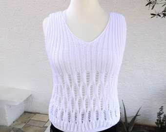 handknitted womans cotton top, hole pattern,white, soft, cotton, top, hand knitting