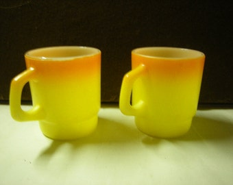 2 vintage coffee cups-Fire King mugs-Anchor-hocking-stackable-sunny coffee cups-kitchen items-retro-