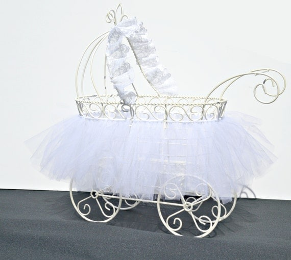 Baby carriage christening centerpiece baby shower for Baby carriage decoration