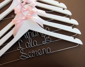 SALE - Set of 5 Personalized Wedding Hangers, Bridal Hanger Set, Perfect for Bridal Party! Ribbon Color of your choice!
