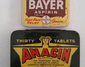 Pair of Vintage aspirin tins, large size Anacin and pocket size Bayer, medical collectible, pain relievers