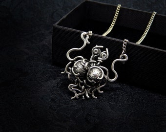 flying spaghetti monster necklace - sterling silver 925 - FSM Pastafarianism Pastafarian church atheism atheist pendant jewelry gift geek