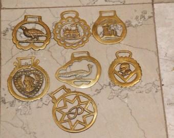 Vintage Brass Horse Bridle Medallions