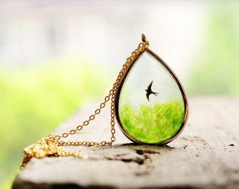 Swallow Necklace,Bird Necklace,Sky Necklace