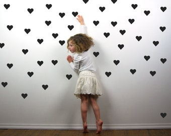 Black Heart Wall Decals 2 Inch