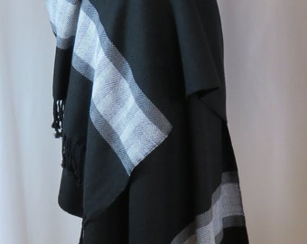 Made to Order Black Blanket Scarf, Hand Woven Black Merino Wool Scarf, Oversized Scarf, Large Black Wrap with Borders, Black Shawl