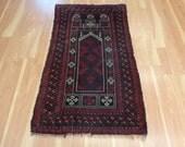 Baluch Oriental Rug 3' x 5' 1 Blue Black Vintage Wool Area Rug