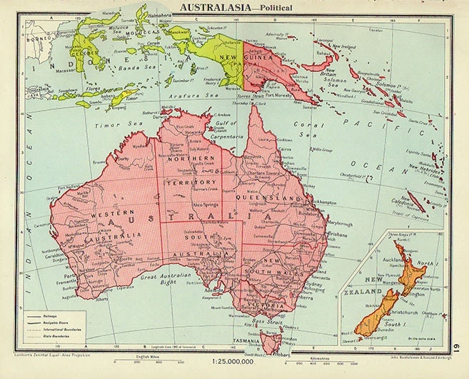 Political Map Of Australia Atlas Antique Map Australian - Political map of australia
