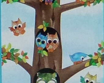 """Owl in the Family,Cotton Fabric, Quilt, Panel, 24"""" x 44"""", by Quilting Treasures, Fast Shipping CH206"""