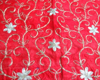 Indian Saree Blouse, Red Pure Silk Blouse Fabric / Embroidered Saree Blouse Piece - UNSTITCHED