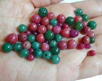 Gemstone Beads, Indian Agate Round Ball Beads / Oval Beads - Gratuated Mixed Loose Beads