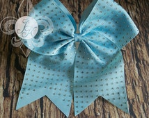 SALE! Turquoise Rhinestone Cheer Bow, Cheerleading Bow, Big Bows, Gymnastic Hair Accessories, Large Hair Bow