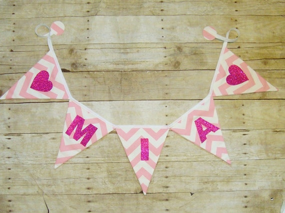 Chevron Pink Name Banner / zig zag bunting / girls name / baby shower decor / sparkle banner / bling name sign / Fabric Sign / Sparkle